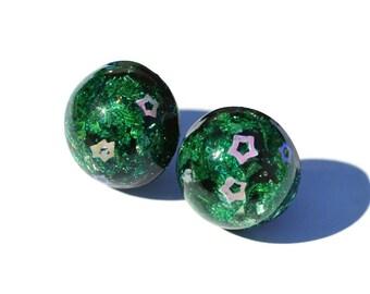 Big Round Earrings Green Glitter Earrings Holographic Hypoallergenic Post Earrings Statement Earrings Green Earrings