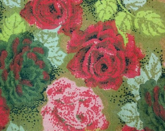 Mid Century Rose Pattern Cotton Waffle Weave Floral Fabric 1.3 yards