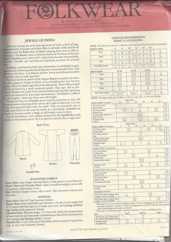Folkwear 135 Jewels of India Sewing Pattern to Make Kurta Shirts ...