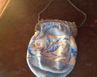 Vintage blue beaded purse