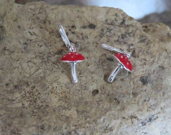 Earrings sleepers red mushrooms