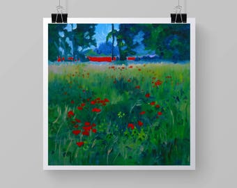 """Poppy Art Print  From My Original Impressionist Oil painting. """"Poppies As Far As The Eye Can See"""", 8 x 8 Print"""