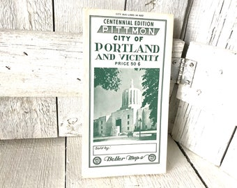 Vintage Portland Oregon map 1959 travel city roads folding Centennial Edition/ free shipping US
