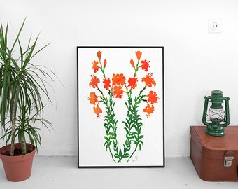 Abstract Flower Home Decor Botanical Illustration Print French Country Wall Art, Flower Art floral art Gift Idea Red green Flower wall Decor