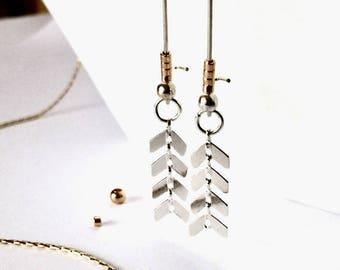 Silver Chevron Earrings, Arrow Earrings Jewelry Geometric Earrings, Dangle Earrings, Boho Earrings, Everyday Earrings, Modern Jewelry