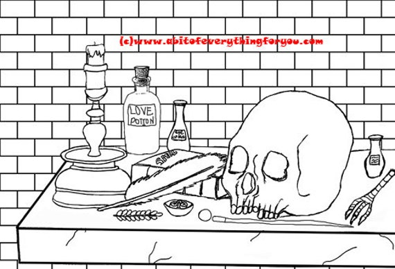 skull magic potion altar wiccan art coloring page printable art download digital witch craft colouring pages image graphics