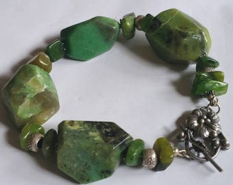 Green Summer Chrysoprase Boulder and fine silver  Statement bracelet