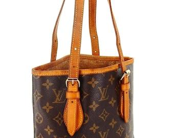 Authentic Vintage Louis Vuitton Bucket Pm VBrown Monogram Canvas Leather Shoulder Bag
