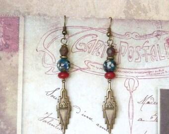 Ethnic Earrings, Oriental Earrings, Art Deco Earrings, Vintage Earrings, Boho Earrings, Southwestern Jewelry, Tribal Earrings, Mother Day