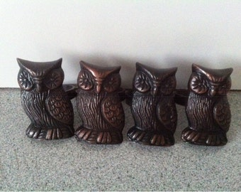Metal OWL Napkin Rings / Holder / Vintage Napkin Rings