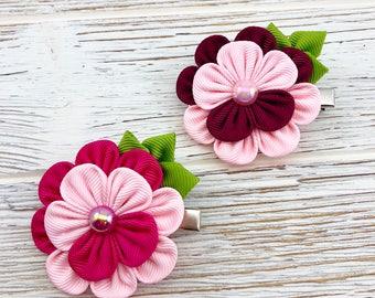 Pink Flower Hair Clip. Flower Hair Accessories. Fabric flower. Small flower hair clip. Flower head decor. Gift for girl