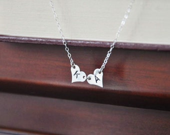 Sterling Silver Double Heart Monogrammed Necklace - Boyfriend Girlfriend, Couple's Necklace, Anniversary Gift, Sister Necklace