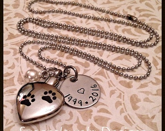 Pet Memory Urn Necklace - stainless steel 1 sided disc & heart shaped cremation urn and chain - Swarovski crystal - custom wording available