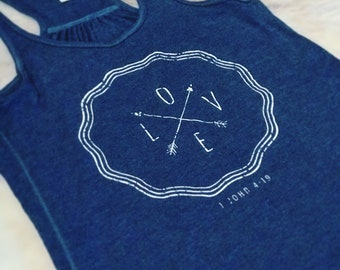 LOVE Heathered-Navy Flowy Tank