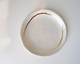 RESERVED porcelain ring dish with golden rim