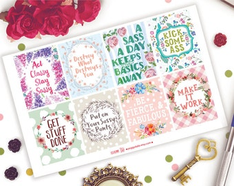 Sassy Motivational Quotes Full Boxes Planner Stickers |  Happy Planner | ECLP