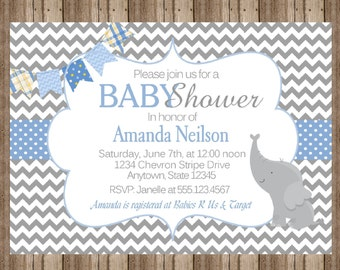 BABY BOY SHOWER Invitation Chevron Blue and Gray with Elephant/ Cute Personalized Printable Digital File / Baby Elephant Jungle Zoo Animals