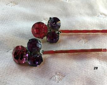 Pair of Pink Hairpin Rhinestone Hairpins