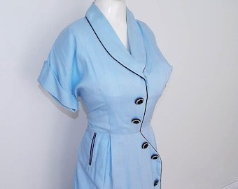 Vintage 40s 50s blue rayon big deco button day dress M L