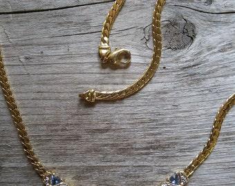 Lavender Rhinestone Necklace-Vintage Rhinestone and Gold-Lavender Rhinestone-Clear Rhinestones-Lavender and Gold-Amethyst Rhinestone