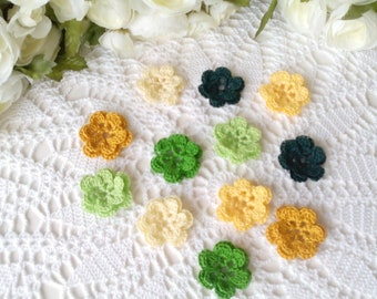 12 Lacy Double Layer Crochet Flowers in Green & Yellow Colors - 1 1/2 inch or 3 3/4 cm