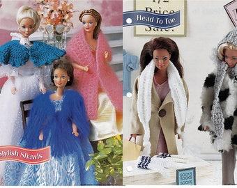 3 Stylish Shawls and Head to toe Crochet Patterns Annies Fashion Doll Crochet Club FC18--04 and FC32-04