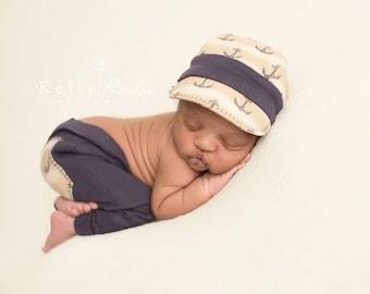 newborn photo prop, newborn photography, photography, handmade, newborn baby, sailor, cap, baby hat, baby clothes, newborn boy