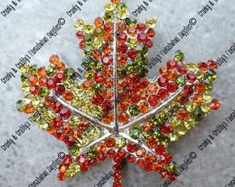 Silver with Rhinestones Fall Maple Leaf Pendant -  49mm x 41mm - Silver with Multi Colored Rhinestones