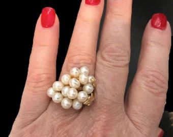 Estate Vintage Authentic 14 Cultured Pearl Cluster Ring In 14K Gold Setter- Size 6-7 ( Adjustable)