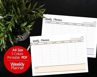 5 Colors Printable Weekly Planner A4 / Weekly Planner Printable / Desk planner / Undated / Simple / Minimalist   #43