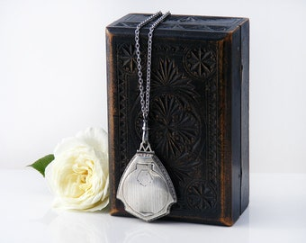 Antique Locket | Art Deco Sterling Silver Compact Locket | Pill Case | Compact with Mirror | Chatelaine Case - 34 Inch Long Chain, Fob Clip