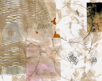 Early Winter - Collage with Hand Painted Papers 8 x 8 on 14 x 11 Backing
