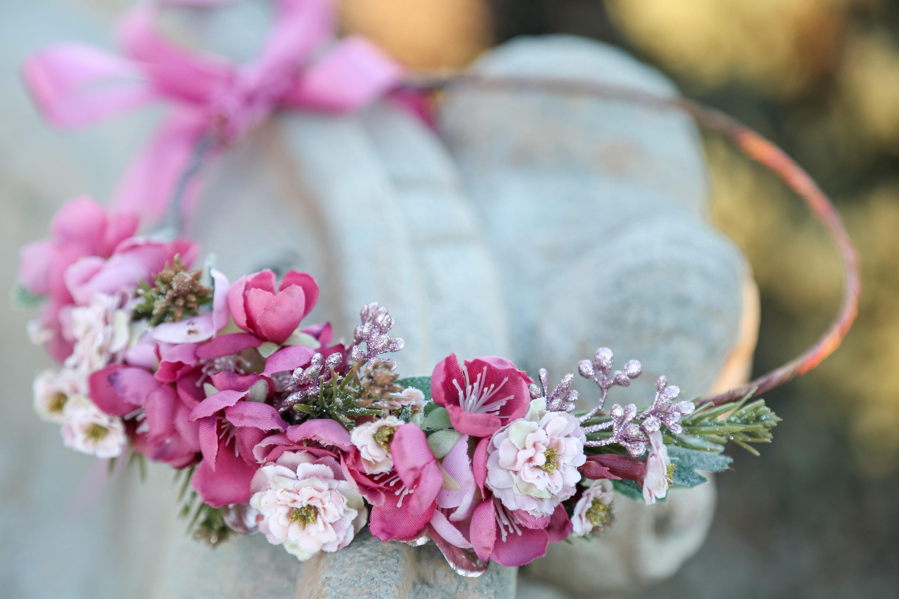 Ready to ship christmas mauve pink berry flower crown description stunning christmas flower crown izmirmasajfo