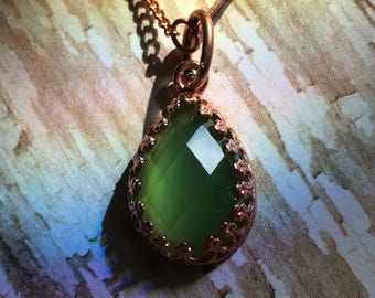 Copper and Jade Stone Pendent On An Antique Copper and Brass Chain