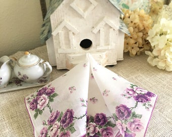 "Vintage Handkerchief, Mother of the Bride, Purple, Wedding, Brides Hanky, Something Old, Bridesmaids Gift 15"""