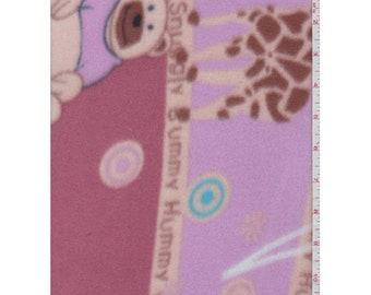 Pink Bear/Giraffe Polar Fleece, Fabric By The Yard