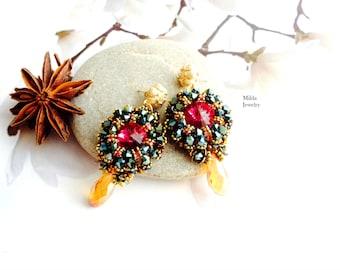 Handmade beautiful earrings for her, beadwork jewelry, beaded earrings, womens fashion, jewellery, pink, gold, blue earrings, gift for her