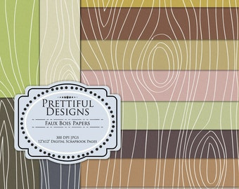 Faux Bois Digital Paper Pack Commercial Use