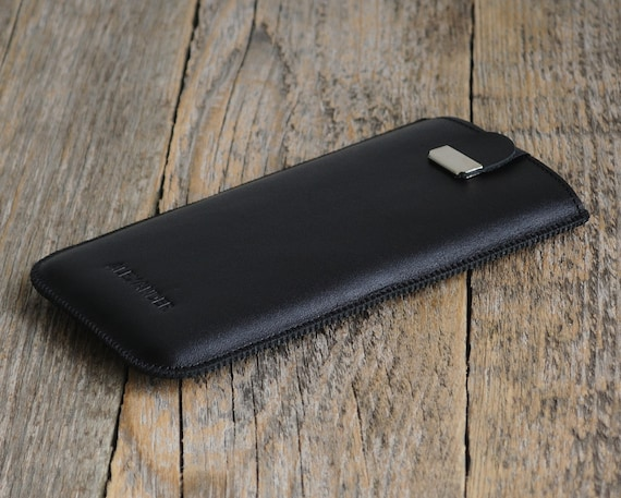 OnePlus 6, 5T, 5, 3T, 3, X, One, 2 Case with Magnetic Flap PERSONALIZED! Add Your Name Genuine Black Leather Sleeve Cover Handmade Pouch