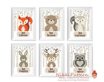 Baby Cross Stitch Pattern, Woodland Animals set Baby Shower Gift,  Be clever Be brave Be kind Nursery Embroidery Set Fox Bear Bunny Deer DIY