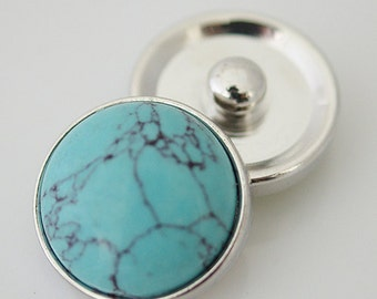 Turquoise Snap It   SKB4746  Noosa Chunk Button Interchangeable 18mm 20mm snap