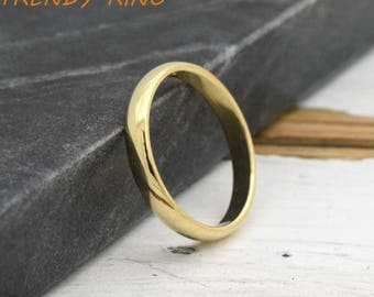 3mm Solid 10k Gold Ring, 10k Gold Ring Womens, 10k Gold Band, Gold Wedding Ring 10k Womens, Womens 10k Gold 3mm Band, Mens Womens Gold Ring