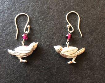 Garnet Sparrow Bird Hallmarked Sterling Silver Earrings