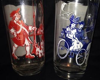 Hazel Atlas 2 musical themed drinking glasses