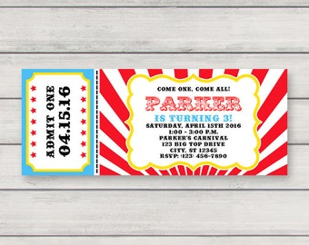 Carnival Ticket Invitation PRINTABLE Circus Birthday Party Invitation INSTANT DOWNLOAD with Editable Text