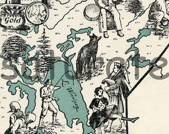 Saskatchewan Manitoba Canada ORIGINAL Vintage Map - A 1940s Beautifully Illustrated Picture Map