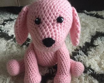 Stuffed Puppy Dog, Crochet, Pink