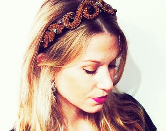 """GILDED MANE Gold Baroque """"Crown"""" Headpiece w/ Turquoise and Multi-Colored Glass Beads"""