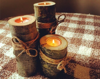 Wooden Candle Holders. Rustic Wedding Decor. Wooden Log Tealight. Set of Three Wooden Candle Holders.