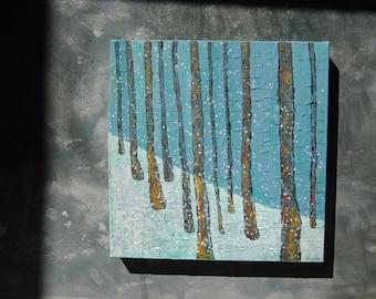 Winter Landscape Original Acrylic Painting   Canadian Landscape, Woodland   Winter Blues   Canadian Art   Canadian Winter